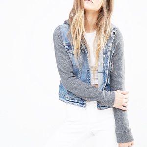 Hollister | Denim Jacket W/ Gray Sleeves & Hood XS
